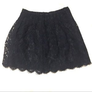 J. Crew Black Navy Lace Leavers A-Line Skirt 0